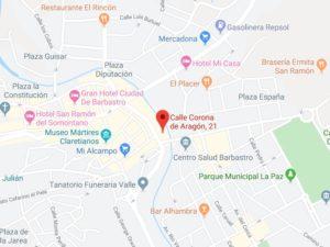 Mapa para llegar a la consulta de Carmen Lemus - Fisioterapia y Osteopatía en Barbastro, Huesca
